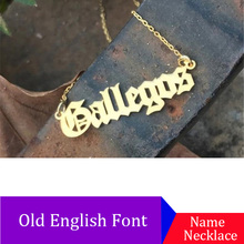 Personalized Name Necklace, Customized Nameplate Custom Old English style Jewelry