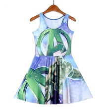 NEW 1220 Sexy Girl Women Summer DC Comic A The Avengers hulk 3D Prints Reversible Sleeveless Skater Pleated Dress Plus size