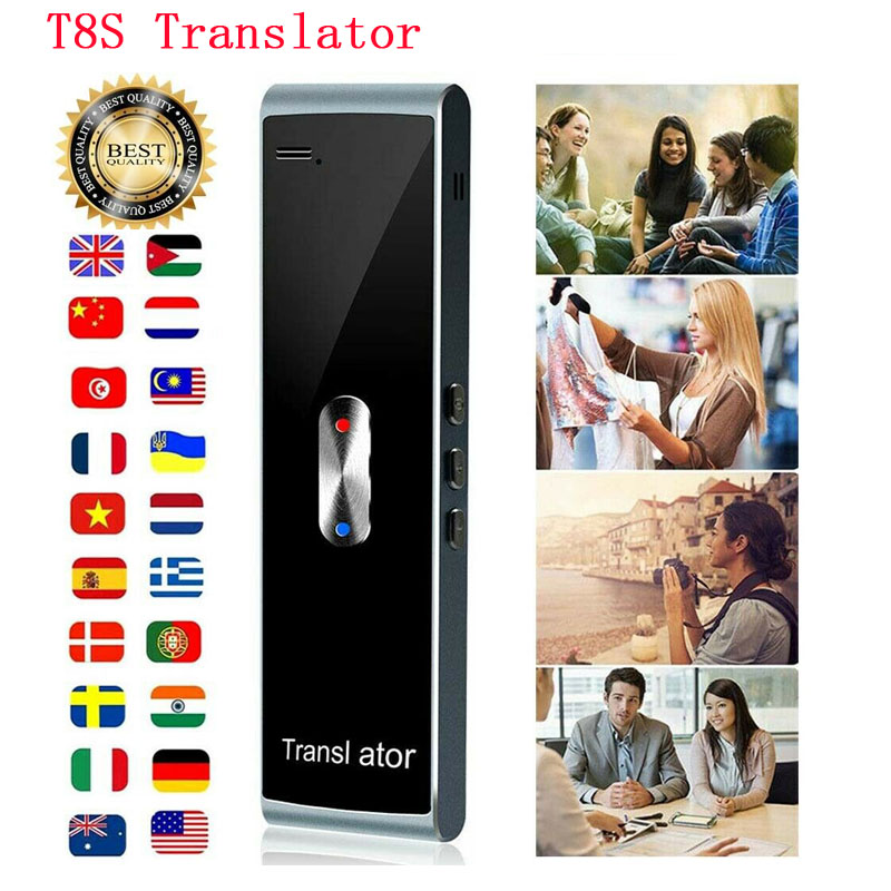 Portable T8S Smart Voice Speech Translator Two-Way Real Time 40 Multi-Language Translation for Learning Travelling Business Meet image