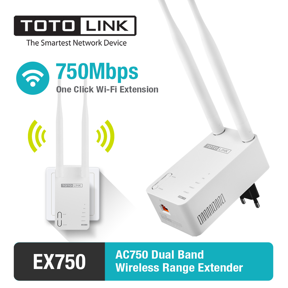 TOTOLINK EX750 11AC 750Mbps Dual Band Wireless Range Extender with 2pcs of 5dBi External Antennas