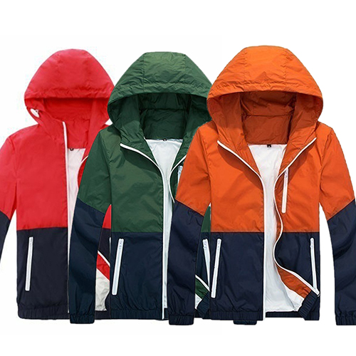 Fashion Mens Zip Up Hooded Jacket Summer Casual Sportwear Windbreaker