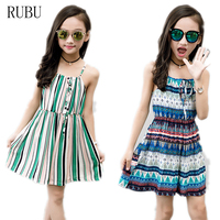Summer Beach Girls Wedding Long Bohemian Casual Sleeveless Dresses Printed Fashion Children S Rainbow Dress Kids