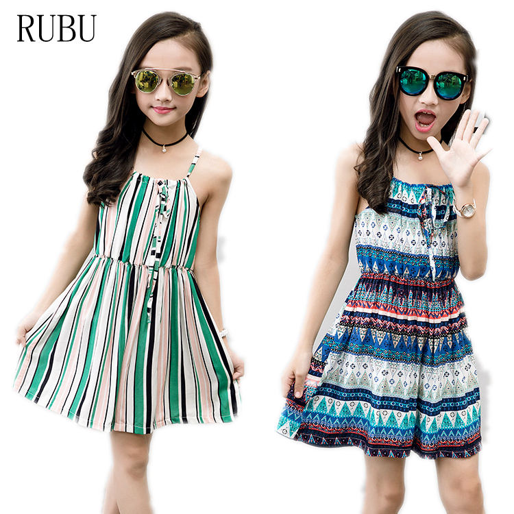 Summer Beach Girls Wedding Long Bohemian Casual Sleeveless Dresses Printed Fashion Children's Rainbow Dress Kids Sundress new summer style girls dresses fashion knee length beach dresses for girls sleeveless bohemian children sundress girls yellow 3t