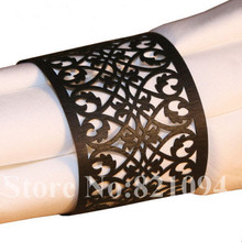 50PCS Free Shipping Towel Buckle Laser Cut Lace design Wedding Decoration Paper Napkin Ring for Party Table