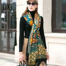 أوشحة وشالات الموضة النساء وشاح العلامة التجارية الفاخرة كبيرة الباشمينا الدافئة الصوف الشتاء المعطف بطانية شال الكشمير الحجاب