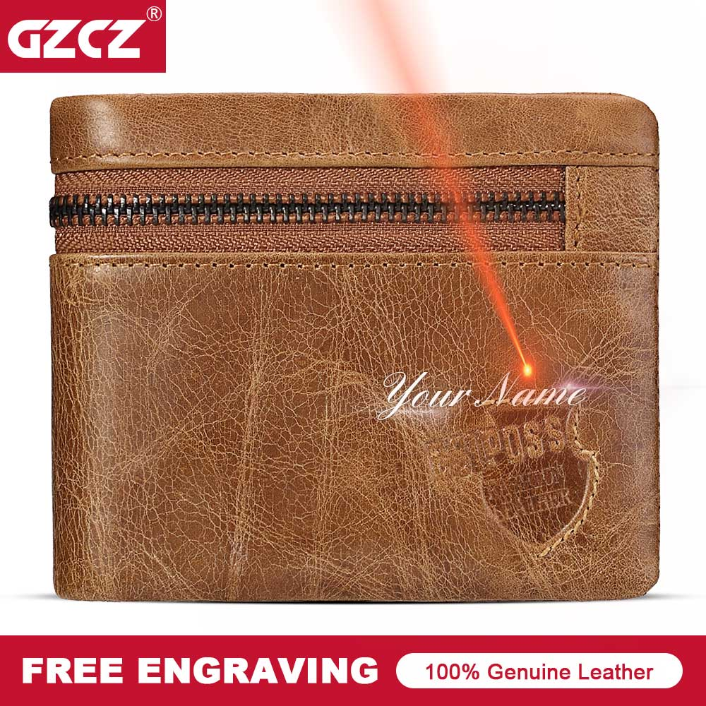 GZCZ Vintage Men Wallet Genuine Leather Male Wallets Zipper Poucht Card Holder Bifold Purse PORTFOLIO MAN Money Bag Free Engrave
