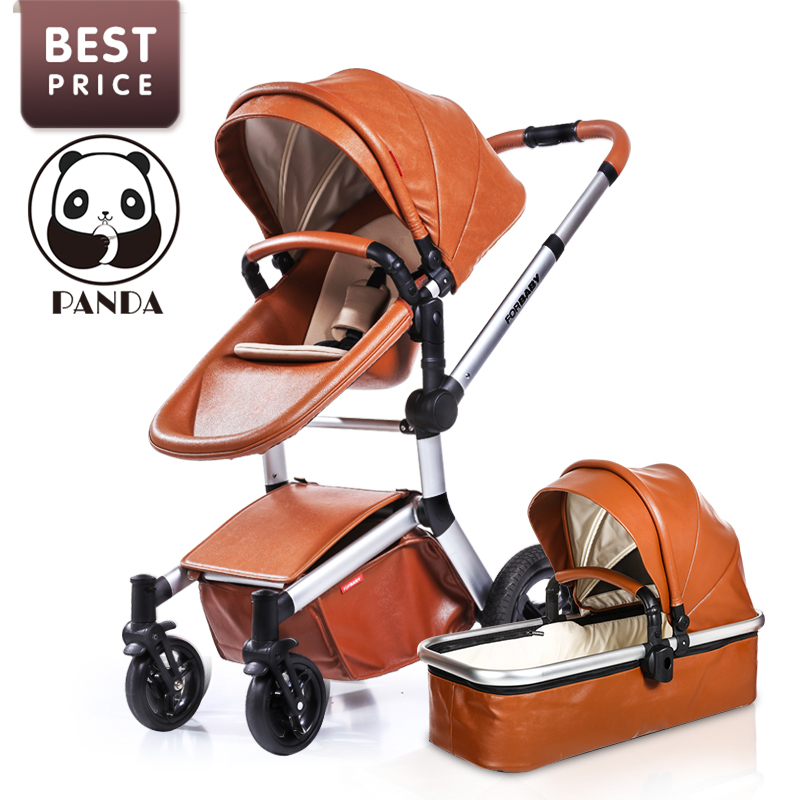 Top Brand Baby Leather Stroller With Infant Basket Inflatable Wheels Luxury Pushchair For Newborns 2 In 1 European Winter Prams avoid the ultraviolet radiation with the canopy pushchair baby build a safe soft environment for babies boys and girls pushchair