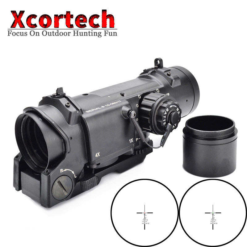 Tactical QD 1X-4X Rifle Scope Quick Detachable 1-4X Adjustable Dual Role Sight With Shade Cover For Airsoft Hunting Shooting tactical rifle scope dr quick detachable 1x 4x adjustable dual role sight airsoft scope magnificate scope for hunting