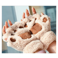 New Winter Warmer Cat Paw Claw Plush Gloves Women S Fashion Keyboard Short Fingerless Half Finger