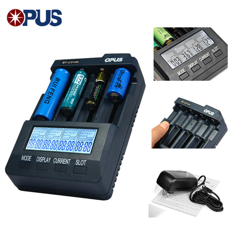 OPUS BT-C3100 Universal V2.2 LCD Li-Ion, NiCd NiMh AA AAA 10440, 14500, 16340, 17335, 17500, 18490, 17670, 18650 cargador de batería nos UE P