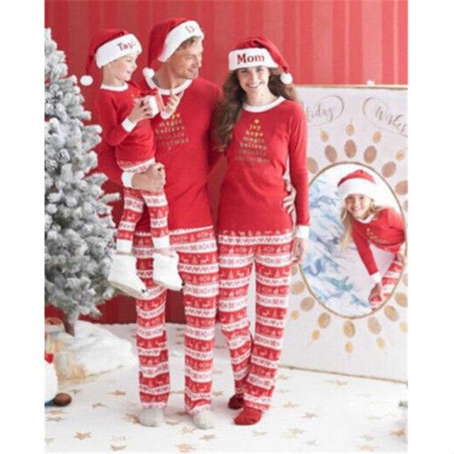 2017 Christmas Family Matching Pajamas Set Homewear Sleepwear Parents Kids  Outfits d5928e2b2