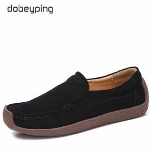 Image 2 - Dobeyping baskets en daim pour femmes, chaussures de printemps automne sans lacet, chaussures plates en cuir de vache, mocassins, décontracté