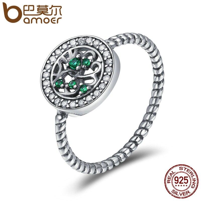 BAMOER auténtica Plata de Ley 925 rima de árbol de la vida de dedo anillos para las mujeres de la joyería de la plata esterlina Anel SCR182