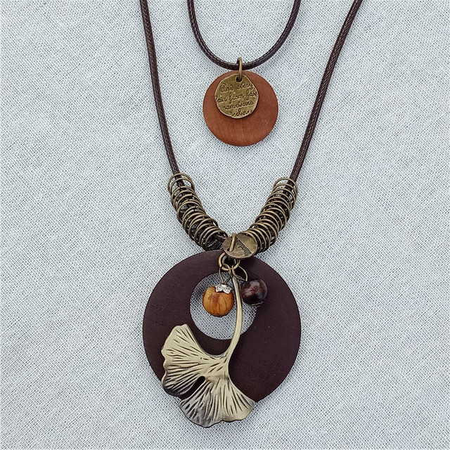 Multilayer Rope Leather Alloy Plant Leaf Charm Pendant Wood Necklace