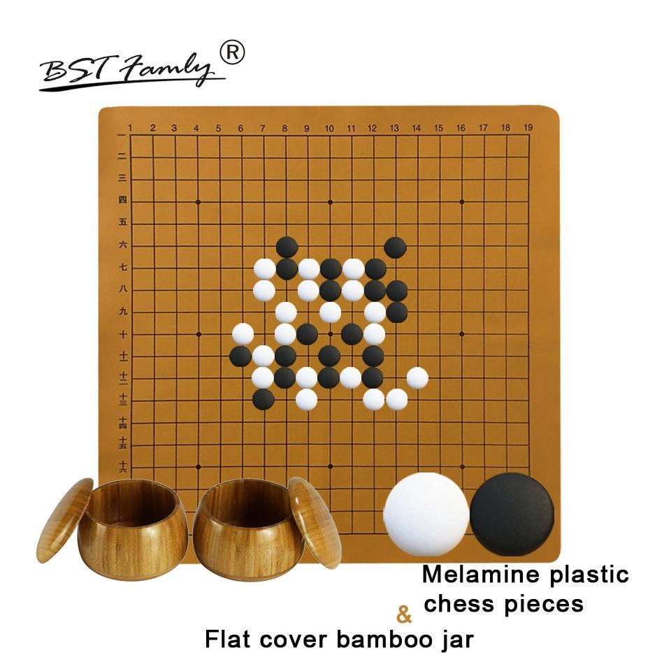 BSTFAMLY jeu d'échecs en plastique 361 pièces pour 19 route PU plateau plat couvercle bambou pot jeu chinois de Go mélamine Yunzi Weiqi G44