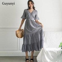 a590bacddbf4 Loose Vintage Dress 2019 Summer Short Flare Sleeve V-Neck Fold Flowing Big  Hem Black