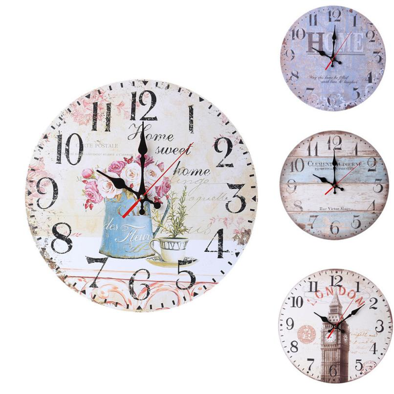 2018 Alarm Clock Vintage Style Non-Ticking Silent Antique Wood Wall Clock for Home Kitchen Offic ClockS Portable Clock Alarm JA4