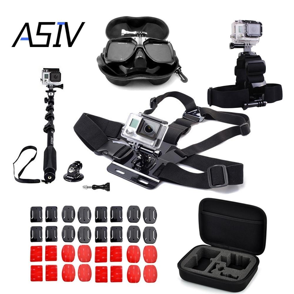 Asiv gopro go pro accessories set for gopro hero 5 4 3 3 2 sjcam sj4000