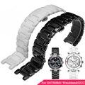 Evitar alergia cerâmica de alta qualidade relógio de aço inoxidável banda butterfly fivela cintas para gc guc mulheres assistem pulseiras + ferramentas