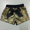 Gold Sequin with Black cotton girls gold shorts birthday outfit sequin shorts
