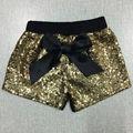Lantejoulas de ouro com algodão shorts roupa calções de lantejoulas de ouro