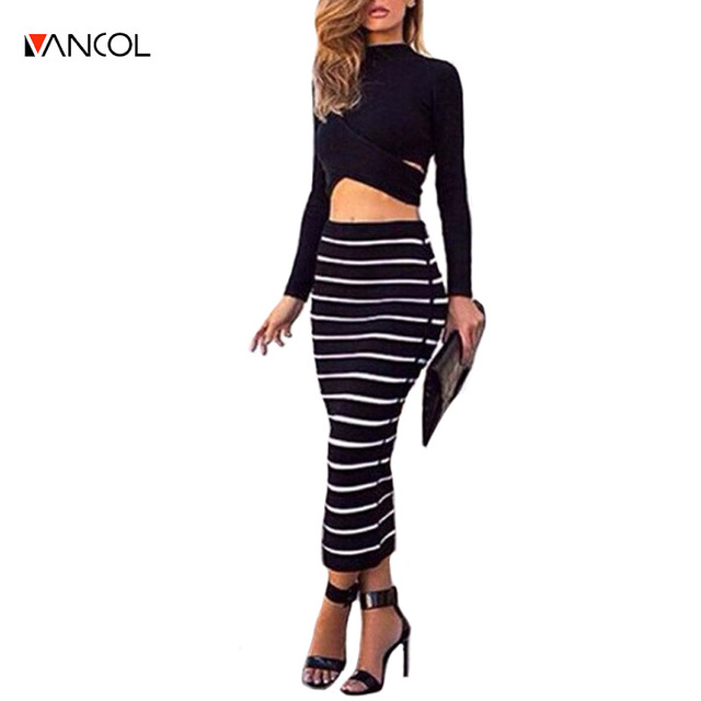2016 Femme Vintage Long Sleeve High Neck Black Striped High Waist Pencil Bandage Robe 2 Two Piece Bodycon Crop Top And Skirt Set