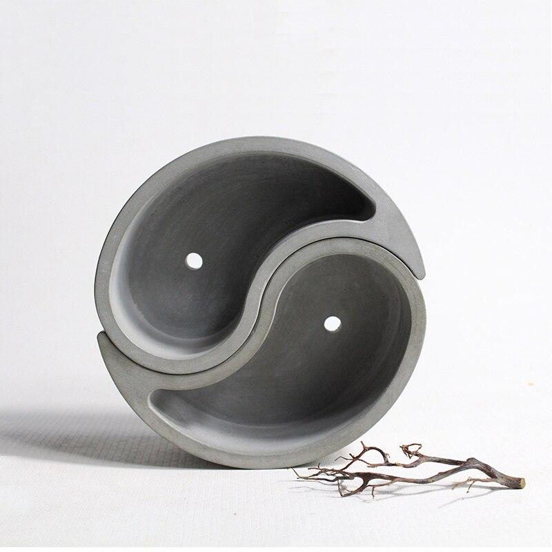 The Eight Diagrams design Succulent plants cement pots silicone mold home decoration round vase concrete molds