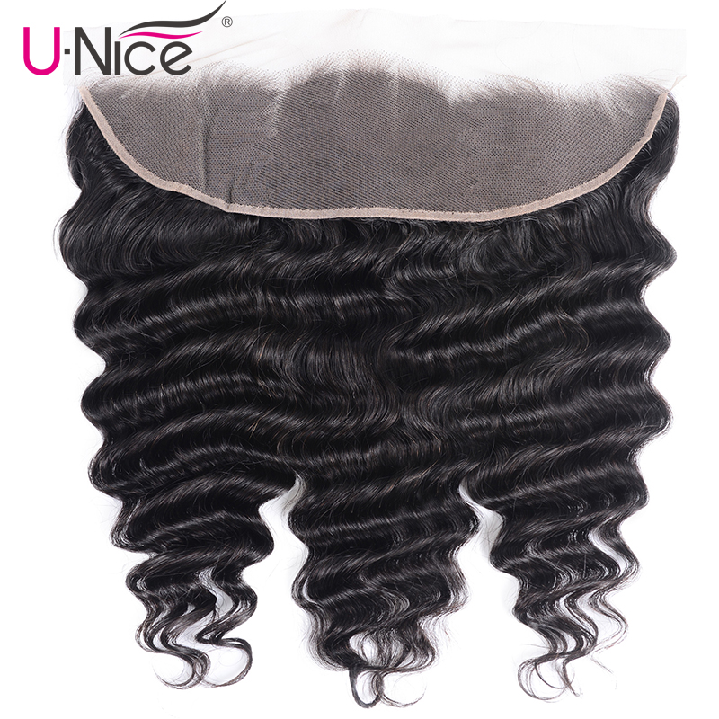 Unice Hair 13x4 Lace Frontal Free Part Brazilian Loose Deep Wave Frontal Remy Human Hair Frontal