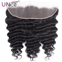 Unice Hair 13x4 koronkowa przednia wolna część brazylijska luźna głęboka fala Frontal Remy ludzki włos Frontal 10