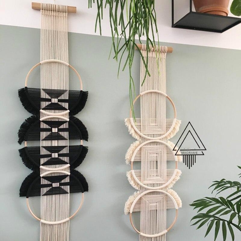 الإبداعية جدار شنقا لينة الديكور مع ثلاثة خواتم المنسوجة ومتصلة نسيج شنقا زينة المكسيكي المنزل الديكور-في قماش النجود من المنزل والحديقة على  مجموعة 1