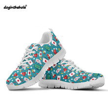 Doginthehole Nurse Pattern Sneakers Women Walking Shoes Breathable Mesh Chaussure Female Outdoor Sport Athletic Footwear