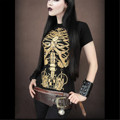 Summer Tops 3D Women T-shirt Women's Tattoo Black Spring Skull Skeleton Clock Printing Loose Short-sleeved Shirt