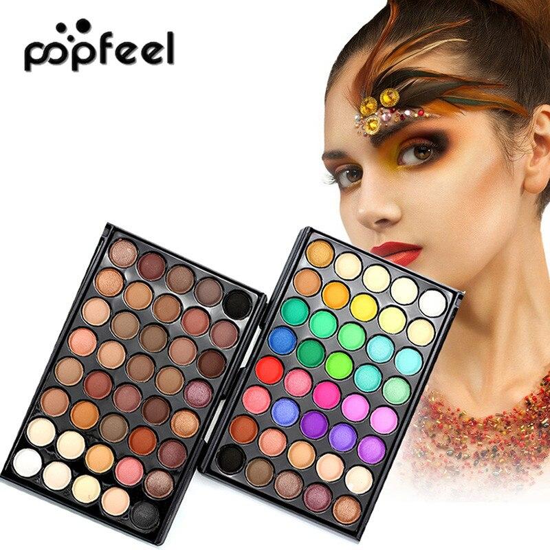 POPFEEL 40 Farben Lidschatten-palette Warme Schimmer Glitter Matte Lidschatten Kosmetik Make-Up Pigment Palette Primer für Frauen