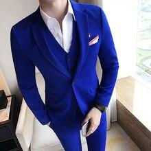9fa8c5be31d07 TPSAADE 2019 Kraliyet Mavi Erkek Takım Elbise Set Genç Adam Çentikli Yaka  Üç Adet Ince Takım Elbise Resmi Erkek Takım Elbise cek.