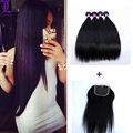 Indian Straight Virgin Hair With Closure Straight Indian Hair Extensions grade 7A Unprocessed Human Hair 4 Bundles with Closure