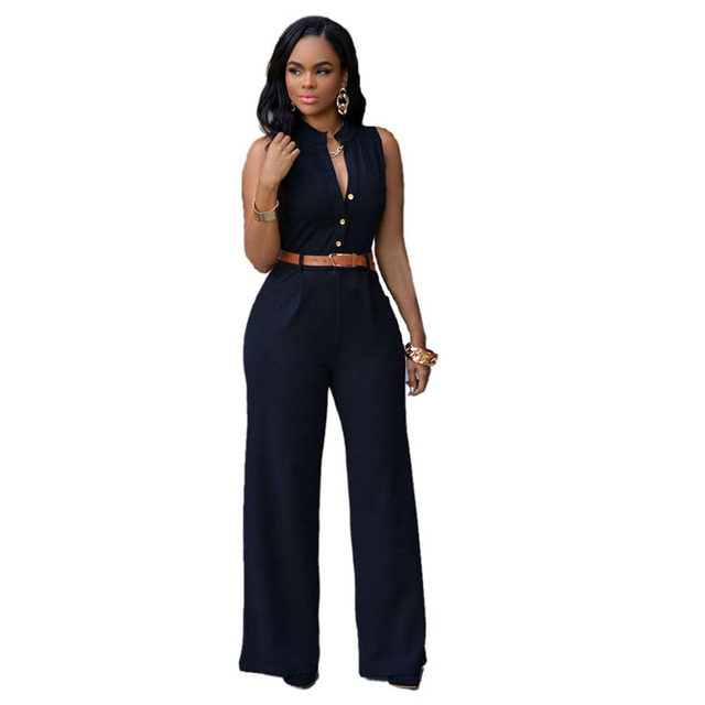 SEBOWEL 2016 Summer Belt Waist Casual Long Women Rompers Stand Collar Elegant Jumpsuit Overalls Sexy Bodysuit Plus Size S-XXL