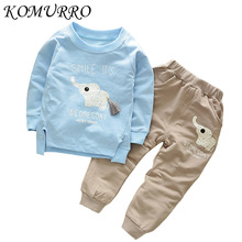 hot deal buy children clothing 2018 autumn boys clothes 2pcs cute elephant print outfits kids clothes toddler boys clothing sets for girls
