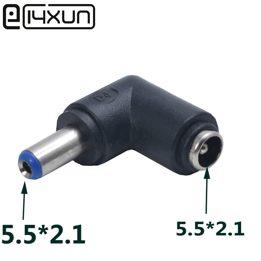 1pcs DC Connector 5.5*2.1mm Male To 5.5 X 2.1 Mm Female DC Plug Power Charger Adapter Right Angle Connector