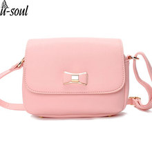 Bow Pink Handbag Women Bag PU Leather Women's Shoulder Crossbody Bags Ladies Small Handbags Female Shoulder Bag Purse Bags A1441