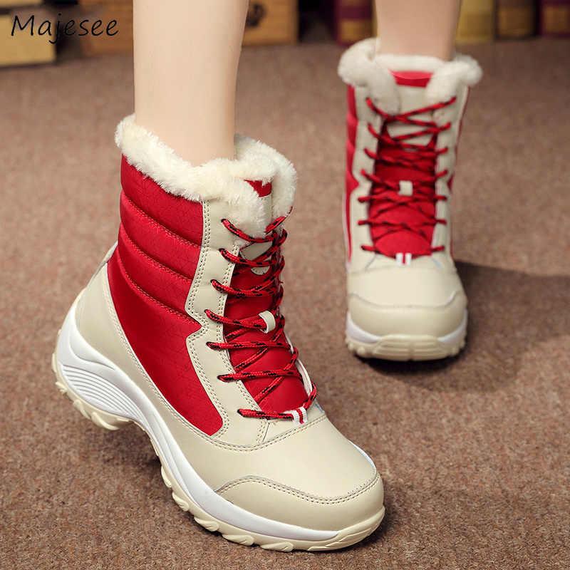 รองเท้าผู้หญิงใหม่ Lace - up หนาด้านล่าง Simple Patchwork ทั้งหมด Womens Elegant Warm กลางแจ้งรองเท้า Mid - calf แบนกับ Boot อินเทรนด์