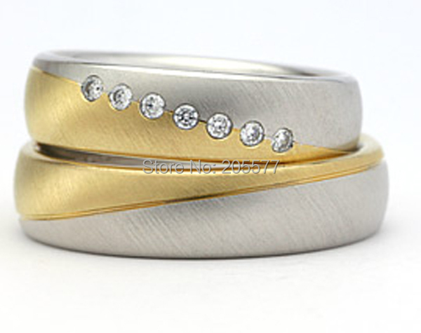Two Tone Classic Traditional Titanium Wedding Band Engagement Rings