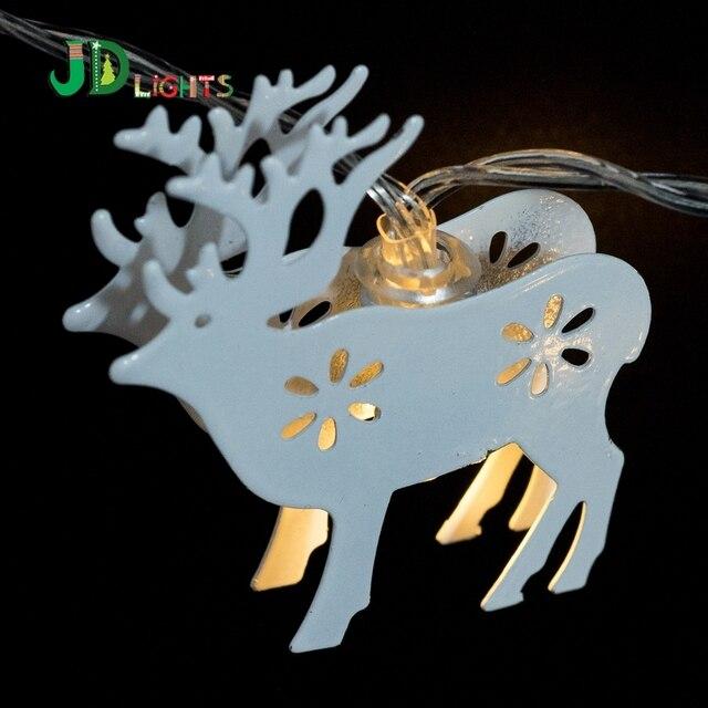 Wit Metallic Rendier fairy verlichting 10 led kerstboom guirlande ...