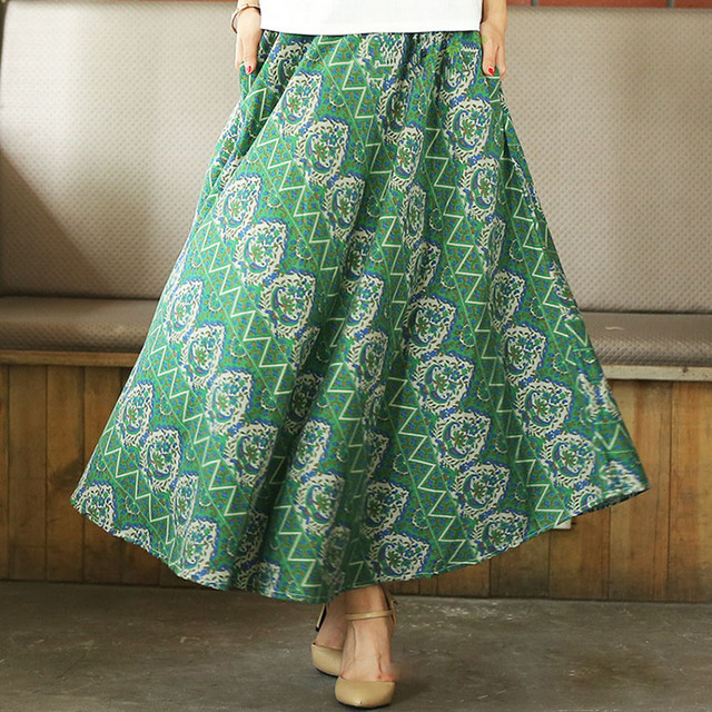 9d898e6b197f 2016 Summer women skirt cloud big swing ethnic skirts folk-custom Style  linen long skirts Ankle Length printed midi skirt women