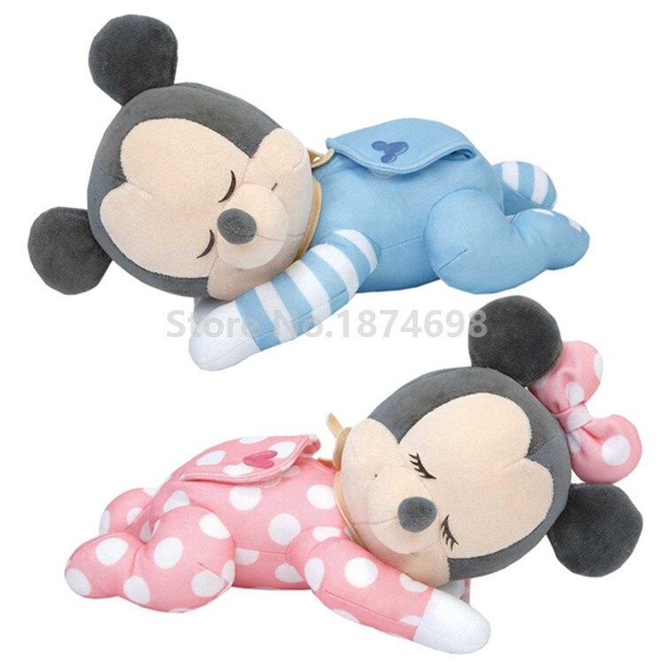 46b70906634 New Baby Goodnight Blue Mickey Pink Minnie Sleeping Plush Toy 28cm Cute  Stuffed Kids Dolls Children Gifts-in Stuffed   Plush Animals from Toys    Hobbies on ...