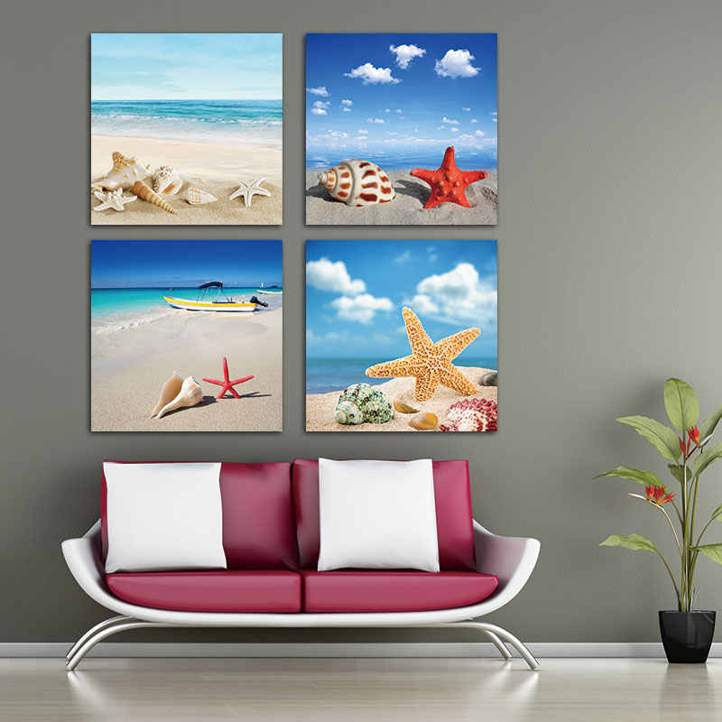 Embelish 4 Pieces HD Print On Canvas Painting Home Decor Modular Landscape Pictures Sea Beach Shell Starfish Wall Art Posters