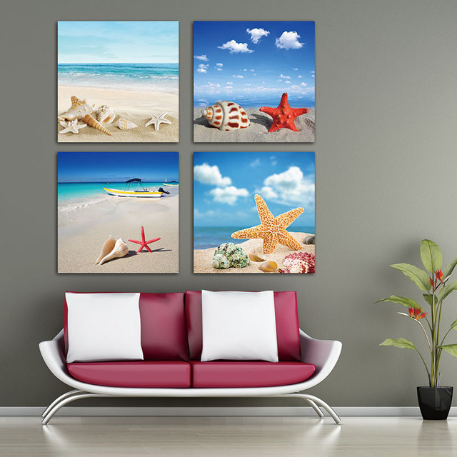 4 Pieces Hd Print On Canvas Painting Home Modular Landscape Pictures Sea Beach Shell Starfish Wall Art Posters
