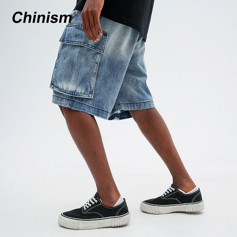 CHINISM Ripped Multi-Pocket Denim Shorts 2018 Mens Hole Denim Shorts Blue Male Hip Hop Fashion Casual Cargo Jeans Short 2122