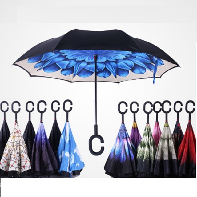 Ветронепроницаемый двухсторонний складной двуслойный перевернутый зонтик самостоящий зонтик дождь/солнце женщины/мужчины высокое качество 2017 ребенок прочный