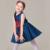 Festa Vestido da menina de Verão Estilo Casual Vestidos Sem Mangas Azul Flores Bordados Crianças Marca Roupa Dos Miúdos 2016 Venda