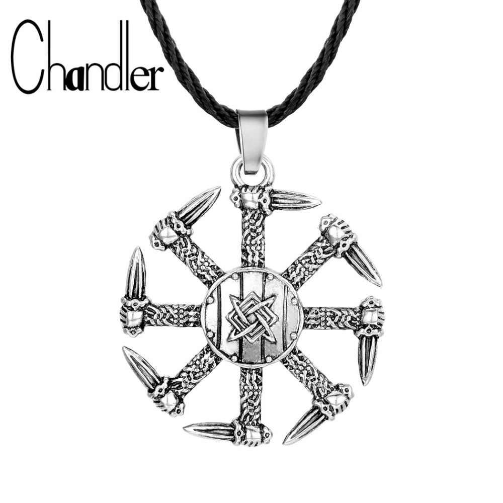 Chandler ดาบ Kolovrat สร้อยคอผู้หญิง Mens ไวกิ้ง Runes นอร์สเครื่องประดับ Collier สำหรับไวกิ้ง Handmade Pagan Mulet เครื่องประดับ